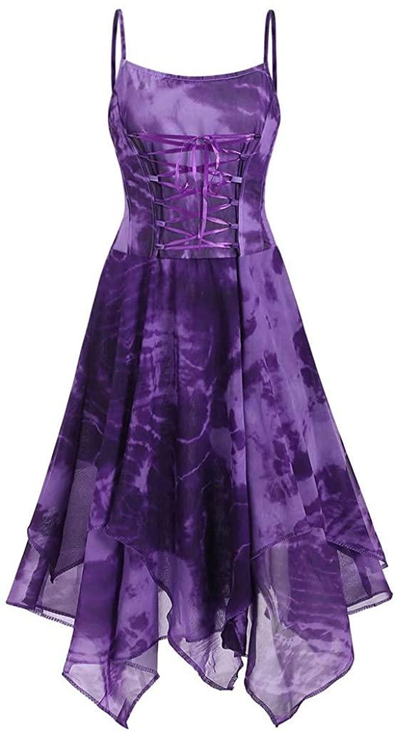 Aniywn Plus Size Straps Swing Dress Women Print Irregular Hem Party Dress