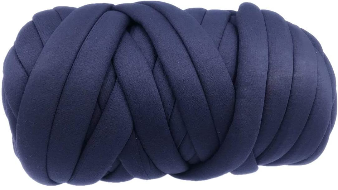 Super Thick Chunky Vegan Cotton Yarn, Chunky Acrylic Bulky Big Roving Washable Softee Jumbo Tubular Yarn for Arm Knitting Home Décor Projects Blankets Rugs Making (17 oz / 27 Yards, Navy Blue)