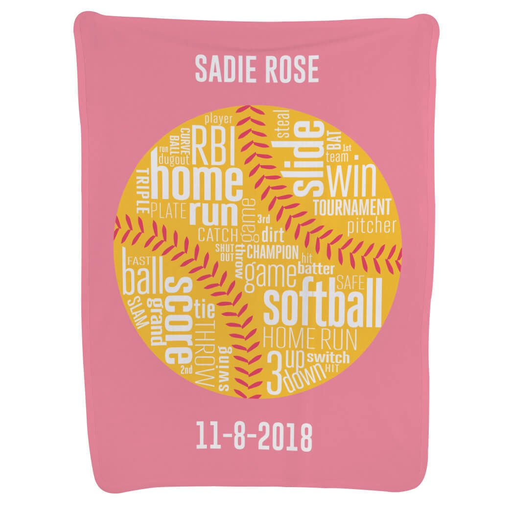 Personalized Softball Baby & Infant Blanket | Custom Softball Words | Light Pink