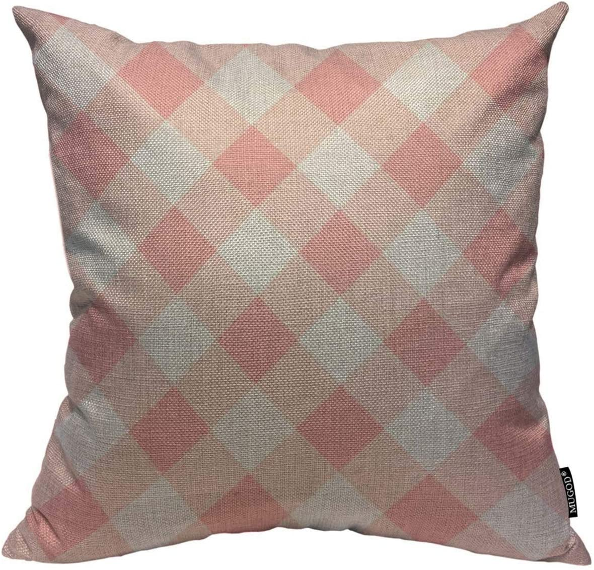Mugod Throw Pillow Cover Pink and White Buffalo Plaid Home Decorative Linen Square Pillow Case for Men Women Boy Gilrs Bedroom Livingroom Cushion Cover 18x18 Inch Pillowcase