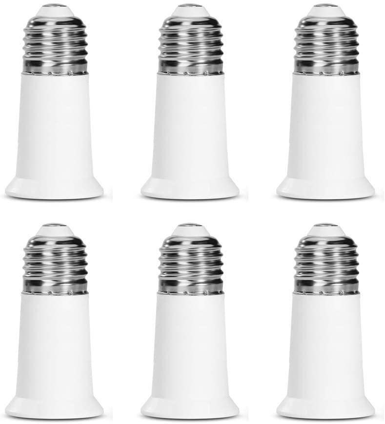 SumVibe E26 Socket Extender, E26 to E26 Lamp Socket, 5CM/1.97 Inch Socket Extension Adapter, 6-Pack