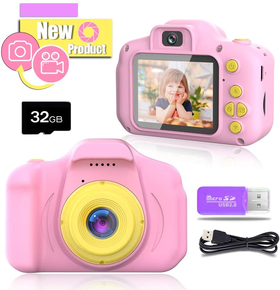 Blijo Upgrade Kids Selfie Camera, Best Birthday Gifts for 3-10 Year Old Girls, 1080p Digital Video Cameras Toddler Children Portable Toy for Girls Age 3 4 5 6 7 8 with 32GB SD Card Pink