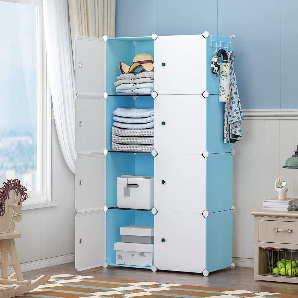 GEORGE&DANIS Portable Closet Wardrobe Dresser Armoire Plastic Storage Cube Organizer for Teenagers Kids Shelf, Blue, 14 inches Depth, 2x4 Tiers