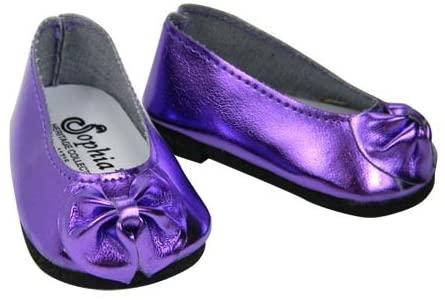 Shiny Metallic Purple Patent Bow Doll Shoe, Fits 18 Inch American Girl Dolls, Metallic Purple Patent Doll Slip On Shoes