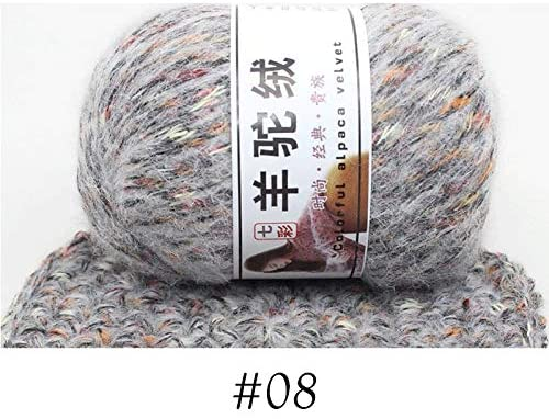 xinchenglove 1.76 Ounce / 3.52 Ounce / 7.05 Ounce/Ball Woollen Colorful Alpaca Velvet Wool Cashmere Yarn for Hand Knitting Crochet DIY Sweater Scarf Thread AQ011 (N08,7.05 Ounce)