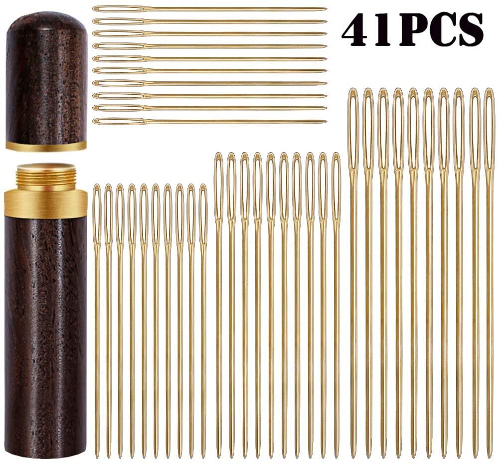 40 PCS Large Eye Stitching Needles, Hand Sewing Needles with Wooden Needle Case,4 Size Big Eye Hand Sewing Needles, Sewing Stitch Needle Handmade Leather Tool