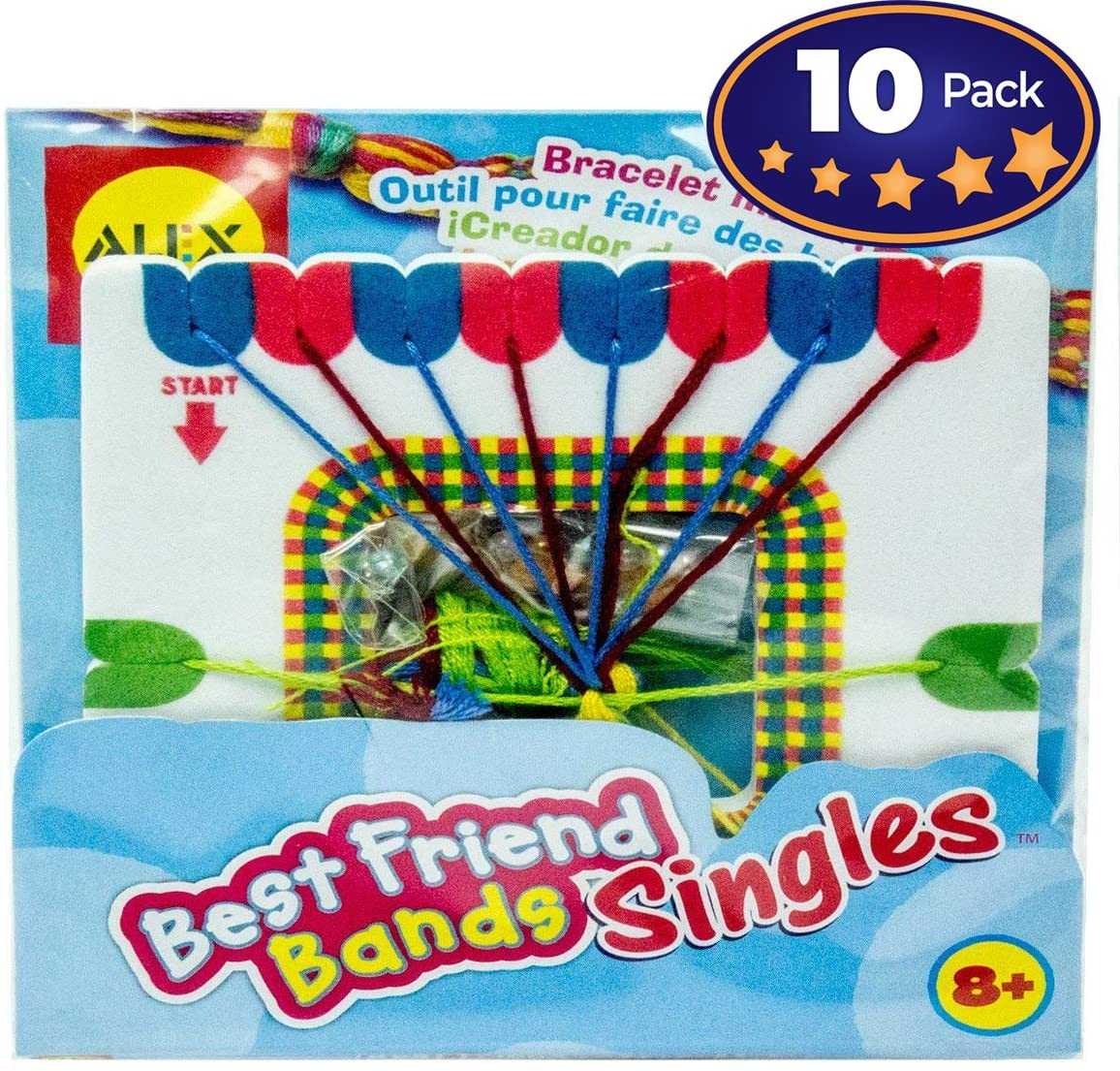 Friendship Bracelet Making Activity Kit for Boys & Girls of All Ages, 10 Pack. Colorful Project for Birthday Parties. Keep Kids Entertained & They Leave With A Favor! Includes All Materials Needed.
