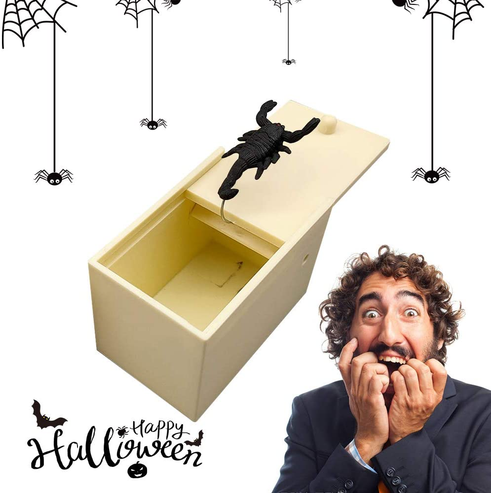 Comebs Spider Box Prank, Handcrafted Surprise Happy Box with Rubber Spider Scorpion & Mouse, Handmade Practical Fun Happy Joke Boxes Prank Gag Gifts