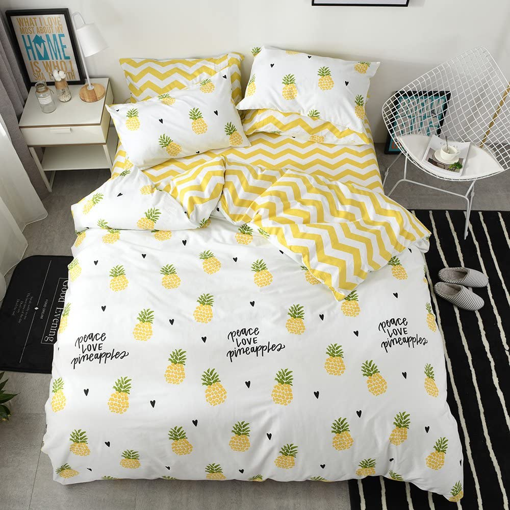 Pineapple Twin Bedding Sets Fruits Kids Duvet Cover Twin Cotton Boys Comforter Cover Twin for Children Girls White Yellow Bedding Set Twin with Hidden Zipper 3 Pieces Bedding Collection, No Comforter