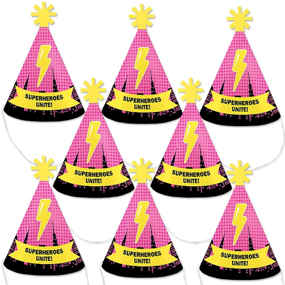 Big Dot of Happiness Bam Girl Superhero - Mini Cone Baby Shower or Birthday Party Hats - Small Little Party Hats - Set of 8