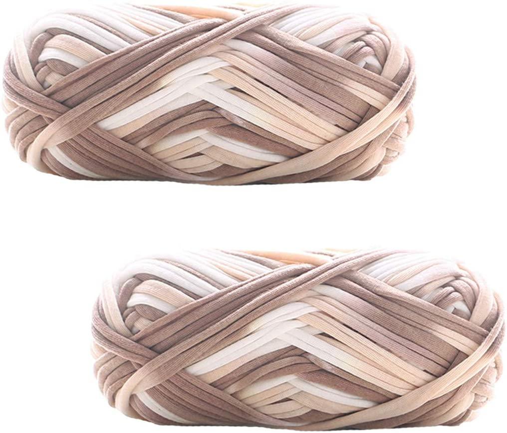 2 Pack of Colorful Knitting Yarn Fabric Crochet Cloth T-Shirt Yarn for DIY Knitted Fabric Art Basket Bag 200g