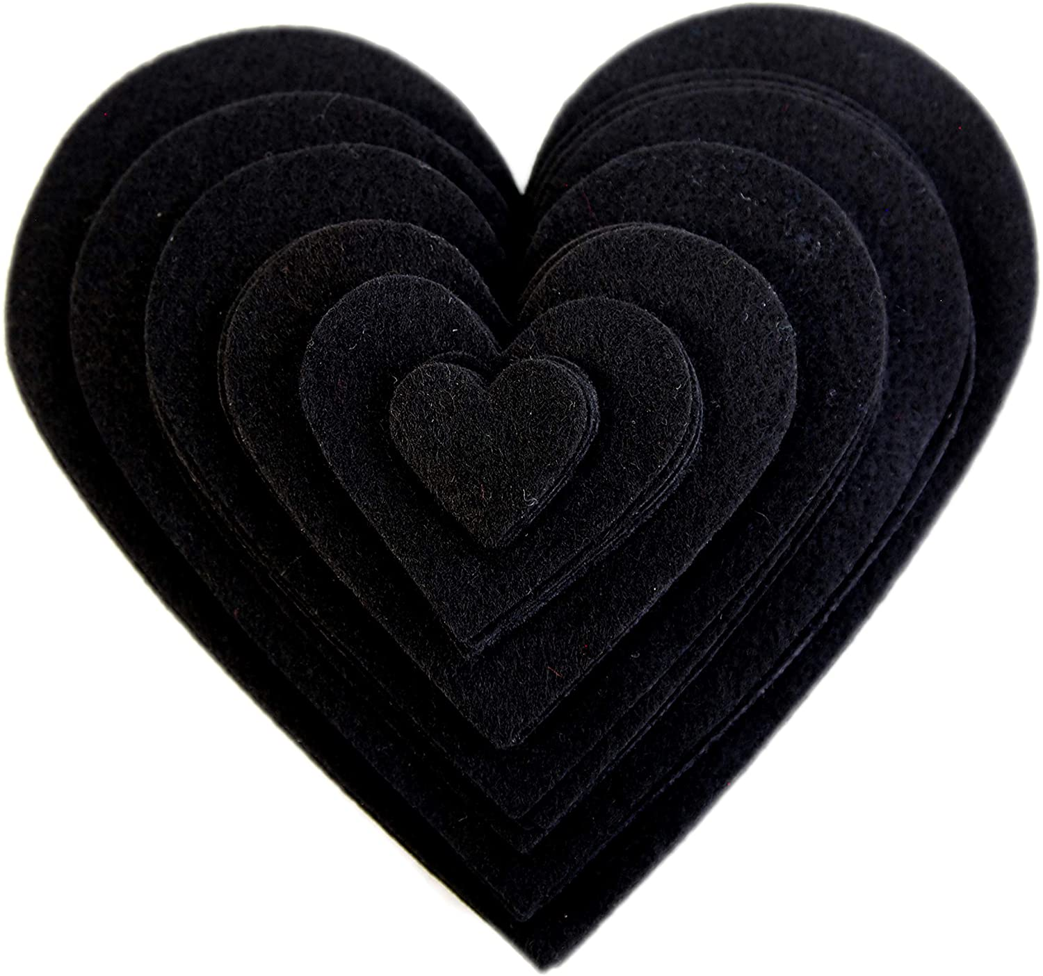 Playfully Ever After 1 to 6 inch Multi-Size Pack 24pc Felt Hearts (Black)