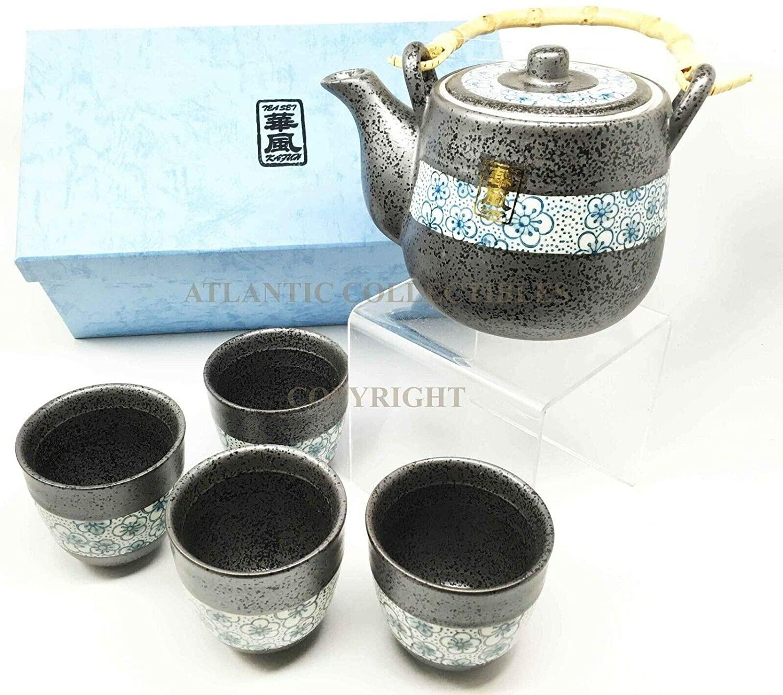 HomDEc Japanese Cherry Petals Charcoal Grey Ceramic Tea Pot & Cups Set Serves 4