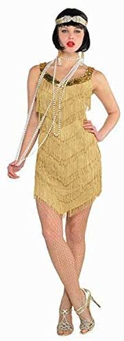 AMSCAN Roaring '20s Champagne Flapper Dress Halloween Costume for Women, One Size