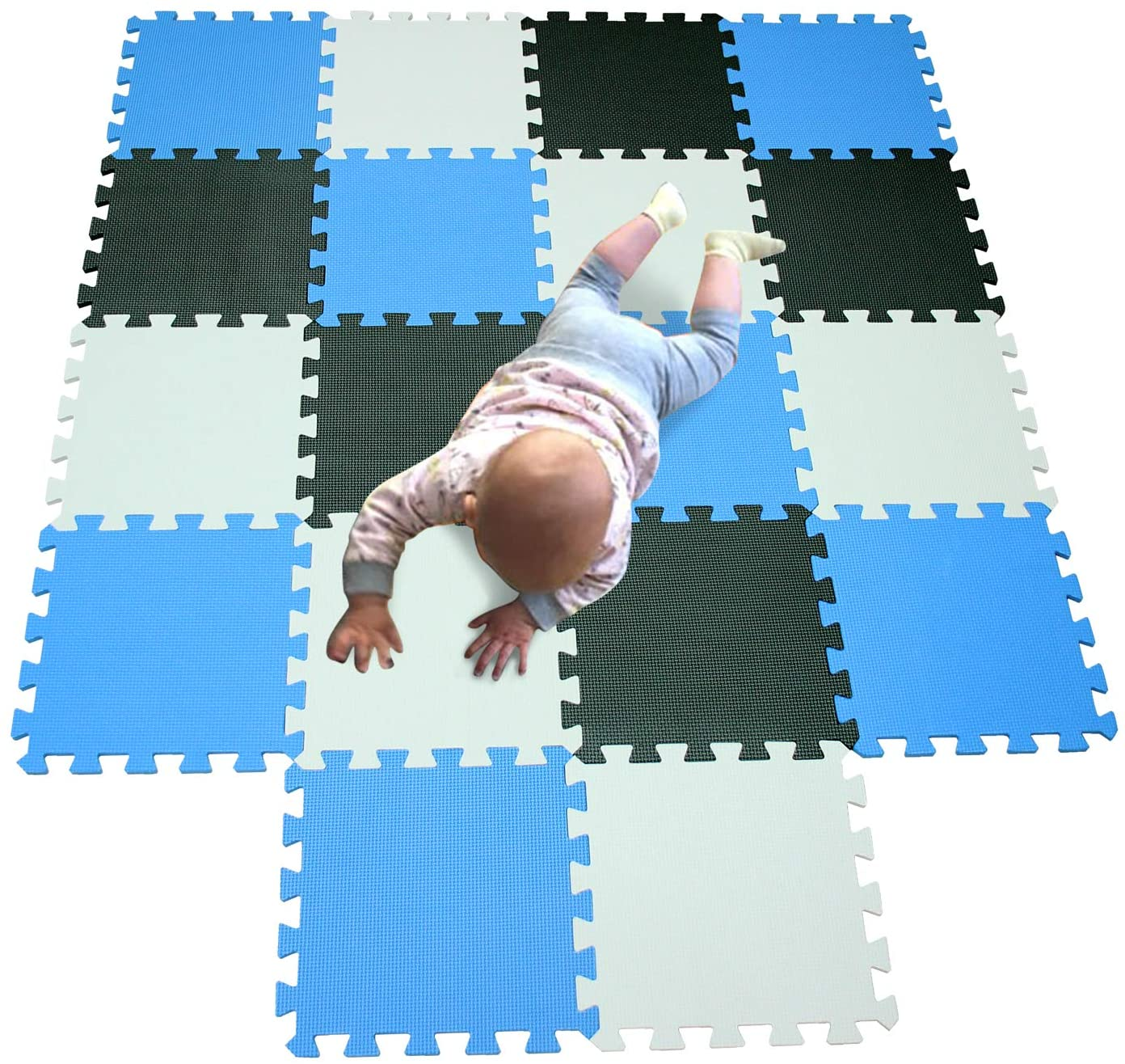 MQIAOHAM Baby Foam Floor Tiles mats Puzzle 2D Shapes playmats for Children Sensory Toys Baby Workout Jigsaw Board Portable Foldable Soft Play mat Interlocking Gym White Black Blue 101104107