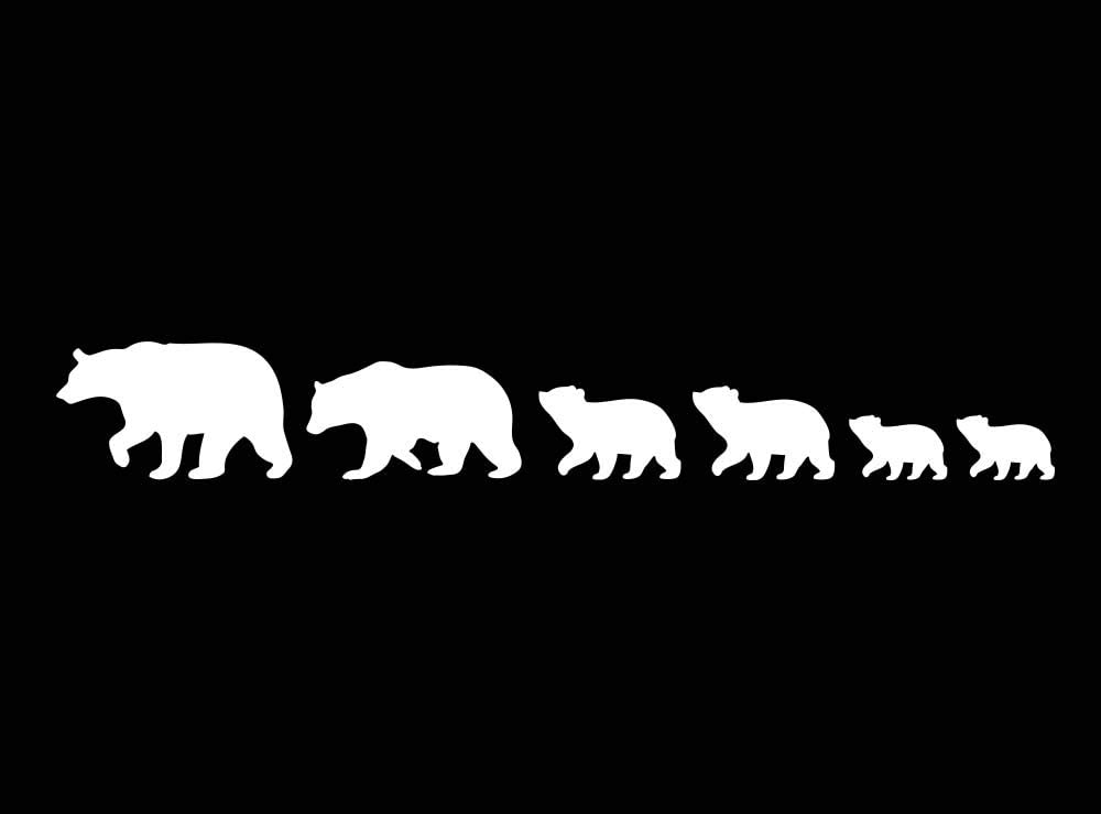 Imposing Design Bear Family (6 Bears Included) 4 x 3 White CAR Decal Vinyl Laptop Decal Quote Sticker Family Mama papa Calligraphy Art Decor Apple Inspirational Decorative Lettering