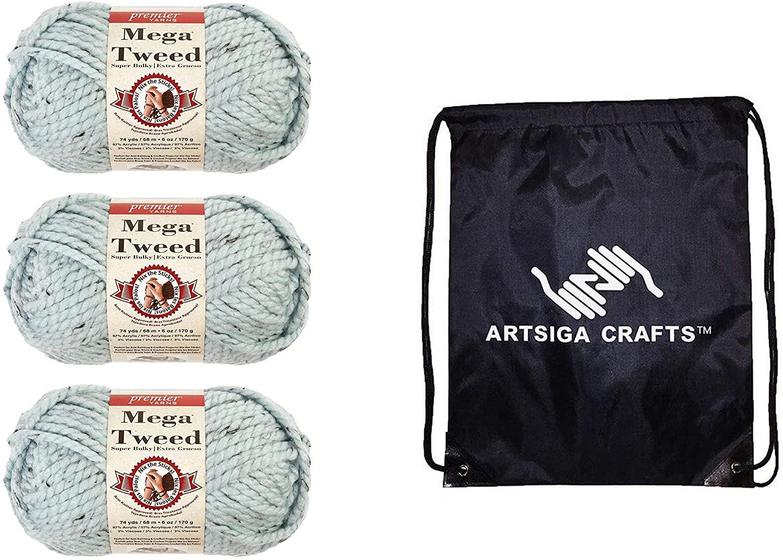 Premier Knitting Yarn Mega Tweed Soft Blue Tweed 3-Skein Factory Pack (Same Dye Lot) 1007-11 Bundle with 1 Artsiga Crafts Project Bag