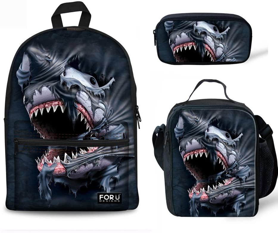 FOR U DESIGNS Cool Shark School Bag Backpack with Picnic Travel Lunchbox Zipper Pencil Box Set