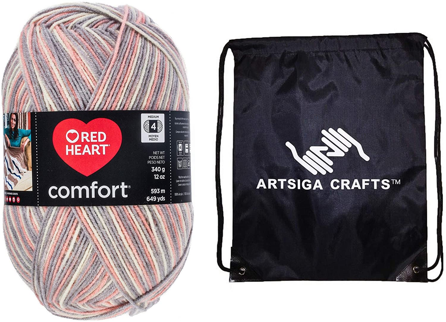Red Heart Knitting Yarn Comfort Pink and Grey Print 1-Skein Factory Pack (Same Dyelot) E707D-4152 Bundle with 1 Artsiga Crafts Project Bag