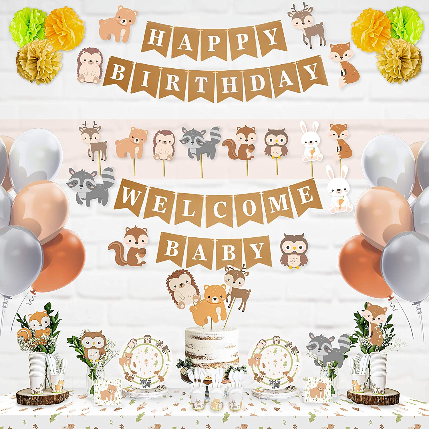 Honey+Rhyme 157 Pcs Woodland Theme Baby Shower Decorations for Boy or Girl | Gender Neutral Woodland Animals Shower Decor and Party Decorations for Boys and Girls with Plates, cups, Cutlery & Napkins