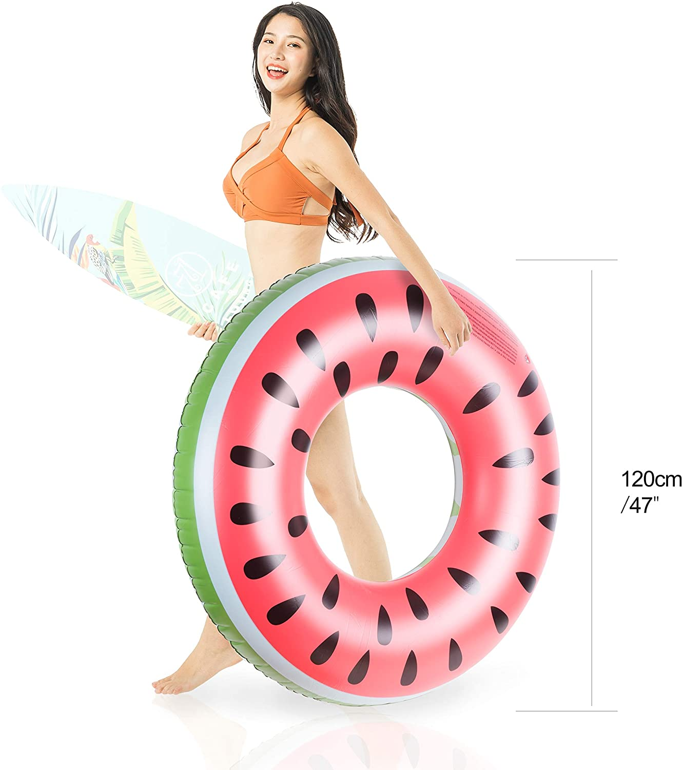 HPOW 47 inch Watermelon Swim Ring - Protective Design of Extension-Type Charging (Watermelon 1)