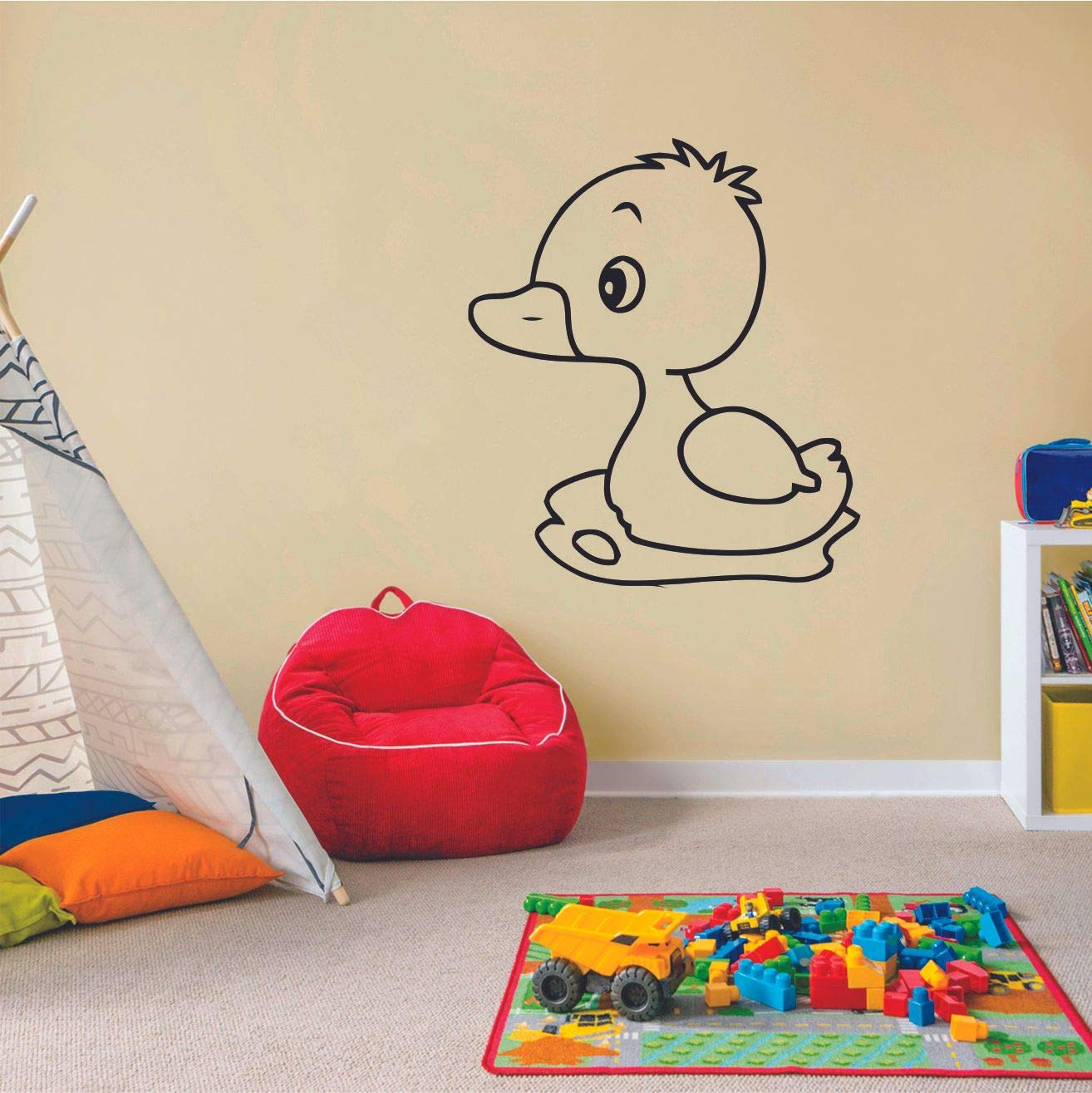 Cute Baby Duck Ducks Animals Animal Children Cartoon Wall Sticker Art Decal for Girls Boys Room Bedroom Nursery Kindergarten House Fun Home Decor Stickers Wall Art Vinyl Decoration Size (30x30 inch)