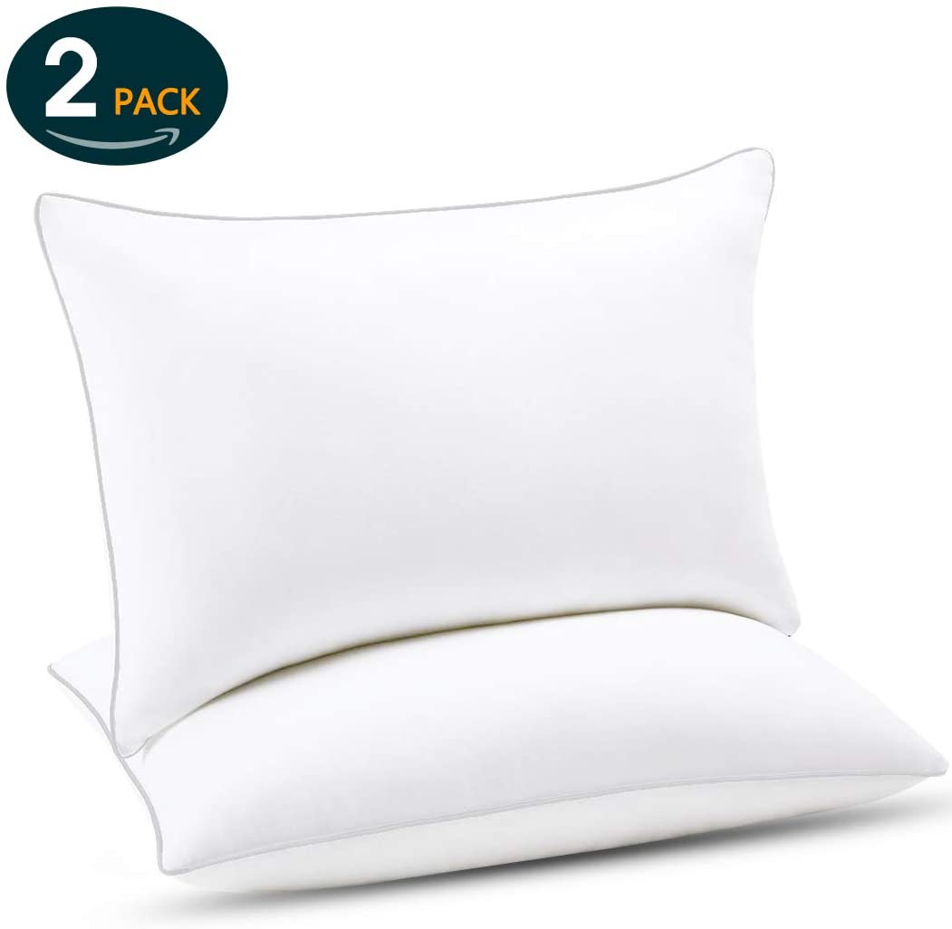 Emolli Hotel Sleeping Bed Pillows - 2 Pack Luxury Pillows Super Soft Down Microfiber Alternative and 100% Cotton Cover, Queen Size, 20 x 30 inches