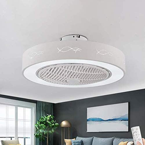 LAKIQ 21.5'' 3 Blades Ceiling Fan Light LED with Remote Modern Acrylic Semi Flush Mount Ceiling Light 3 Color Lights 2 in 1 Close to Ceiling Lighting for Bedroom Living Room Bedroom (Style C)