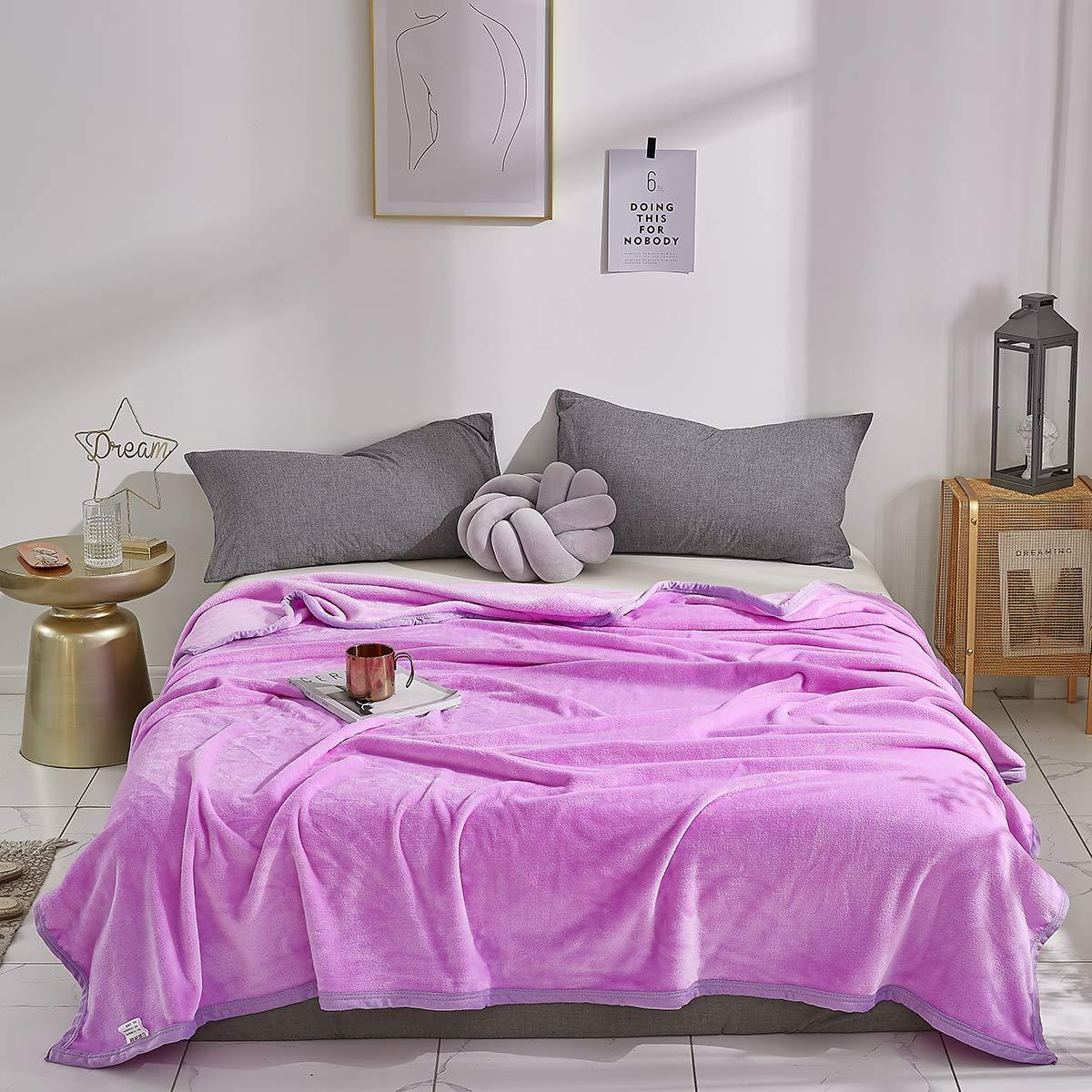 Uozzi Bedding Flannel Fleece Full/Queen Adult Blanket, Super Soft Warm Cozy Men Women Warm Spring Blanket Luxury Microfiber Bed Blanket for Bedroom, TV, Sofa, Travel (Purple, 80x90)