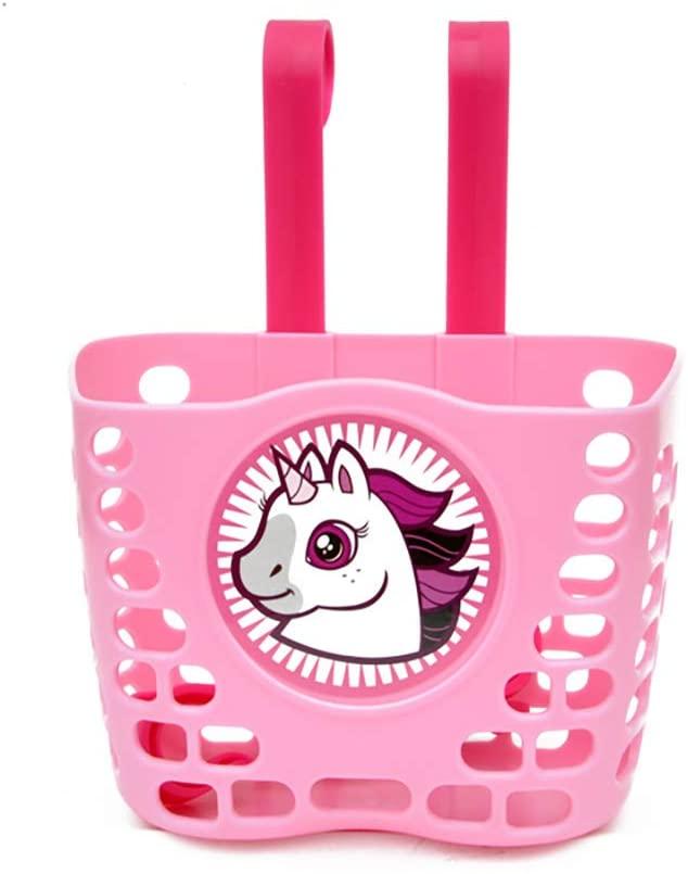 ACECITY Kids Bike Basket, Cute Cartoon Pattern Front Handlebar Bicycle Basket for Child, Girls, Bike Accessories, Pink