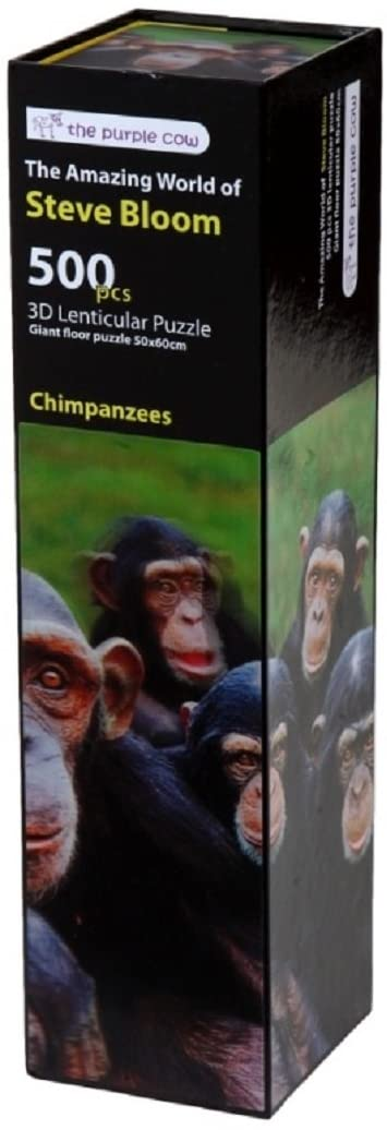 The Purple Cow 3D Lenticular Jigsaw Puzzle - Chimpanzees from The Amazing World of Steve Bloom - Animals Game Puzzle Set - Animal Puzzle for Kids & Adults - Ages 6-Year-Old and Up. 500 Piece Set!