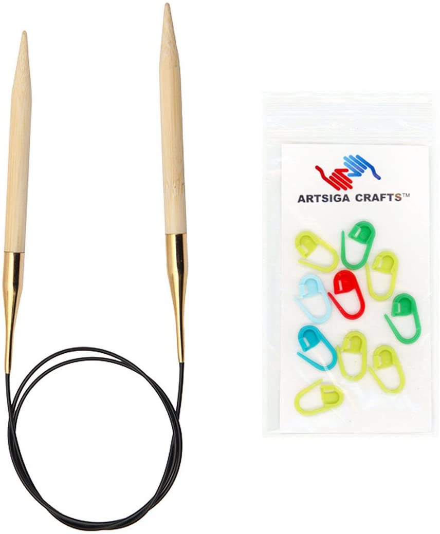 Knitters Pride Knitting Needles Bamboo Circular 32 inch (80cm) Size US 2 (2.75mm) Bundle with 10 Artsiga Crafts Stitch Markers 900243