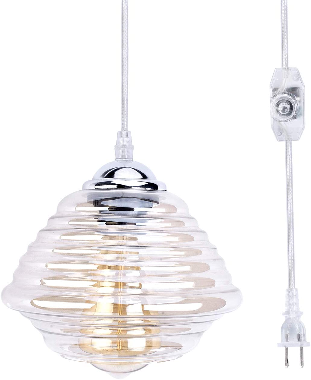 Stepeak Modern Glass Pendant Light,Transparent Swag Lamp with on/Off Dimmer Switch and 16.4' Plug in Cordand,Hanging Light for Bedroom Kitchen Dinning Room