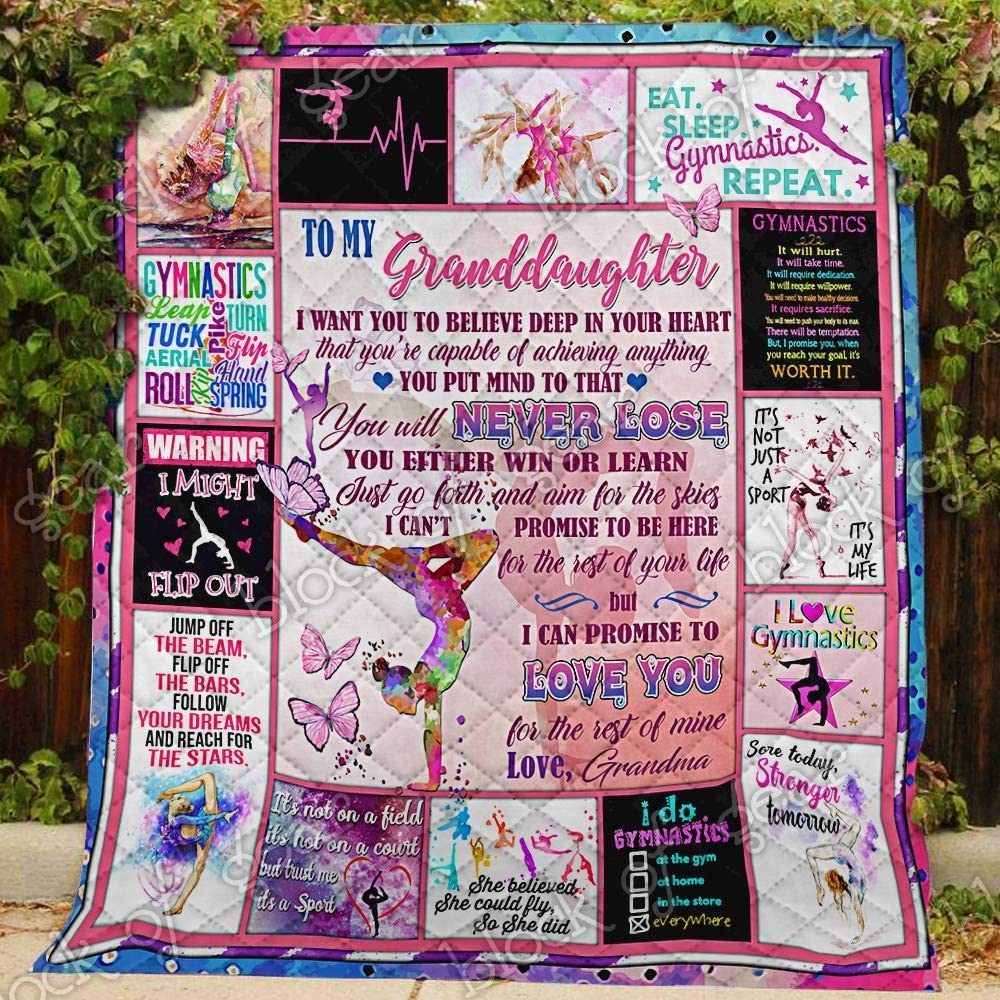 My Granddaughter, I Love You, Grandma, Gymnastics Quilt PN719gm, Twin All-Season Quilts Comforters with Reversible Cotton King/Queen/Twin Size - Best Decorative Quilts-Unique Quilted for Gifts