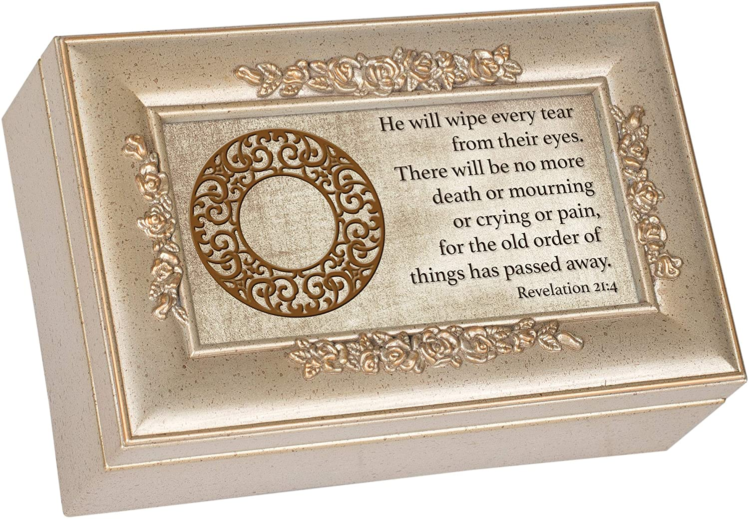 Cottage Garden No More Tears Inspirational Champagne Silvertone Bevel Petite Rose Music Box Plays Amazing Grace