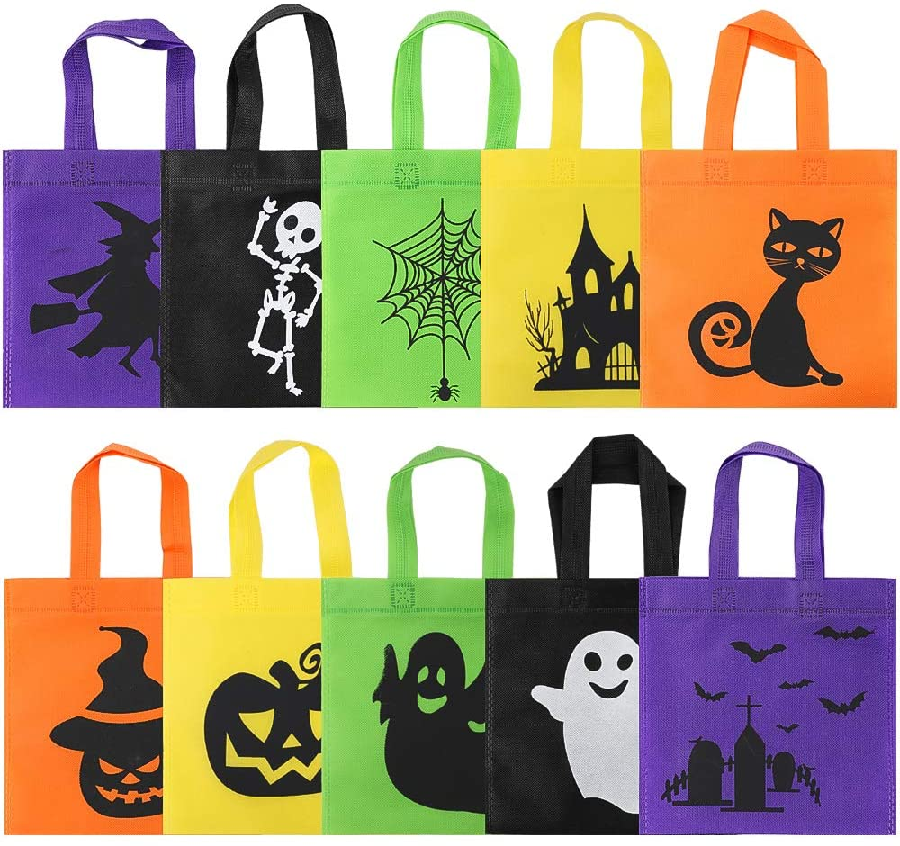 CDWERD 30 Packs Halloween Non-Woven Bags, Halloween Bags,10designs,8×8 Inches,5 Colors Tote Bags with Handles