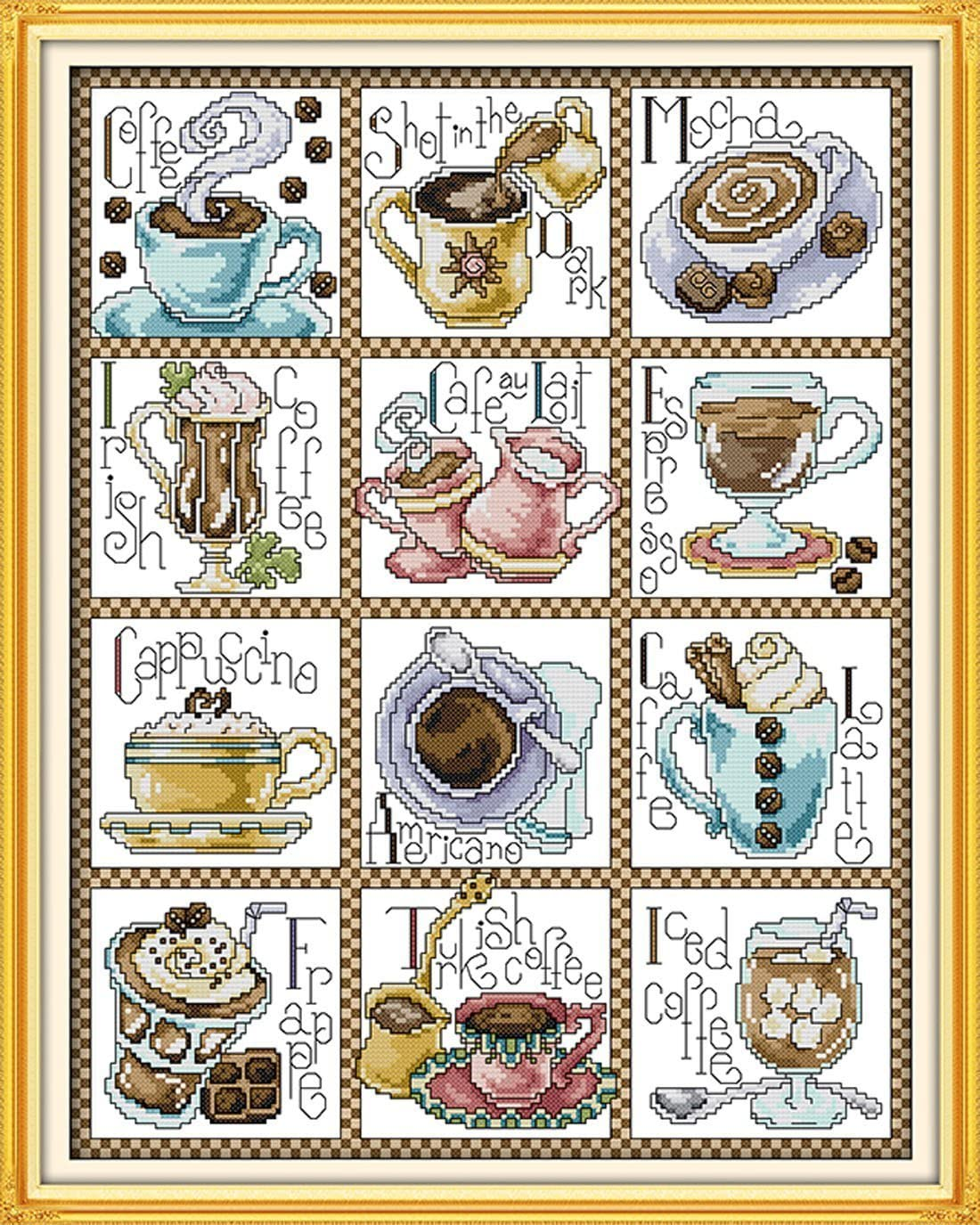 Stamped Cross Stitch Kits Beginners Cross Stitching Pre-Printed - Tableware Twelve Months Coffee Cups
