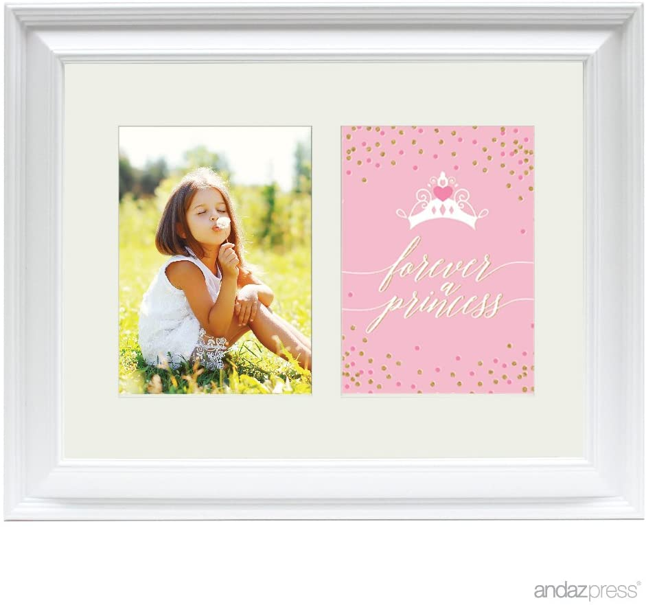 Andaz Press Double White 5x7-inch Photo Frame, Forever a Princess, 1-Pack, Christmas Birthday Gift Girls Baby Picture Gift Wall Art