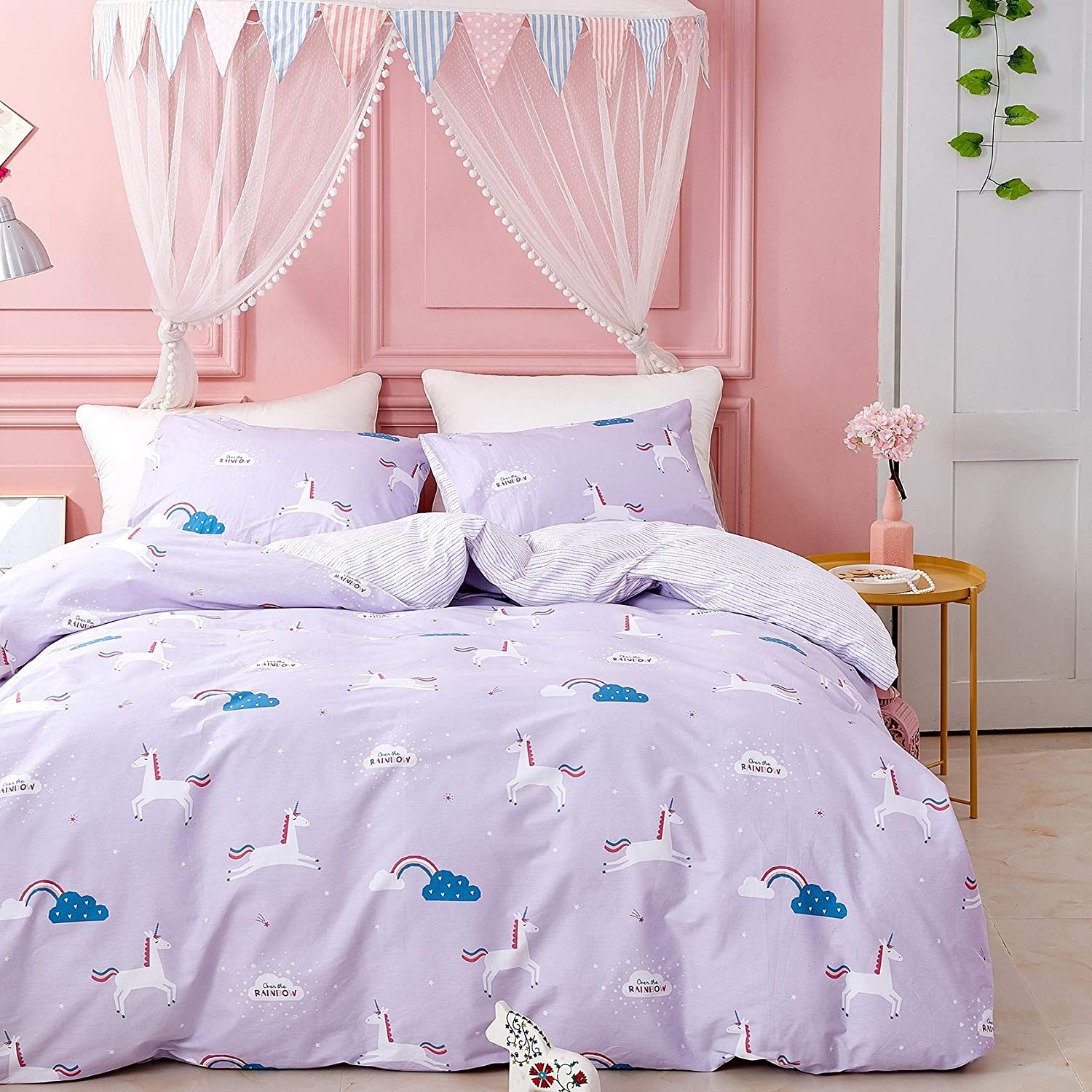 Wellboo Unicorn Bedding Cover Sets Girls Lavender Duvet Cover Purple Ponies Kids Bedding Sets Children Cartoon Animals Quilt Cover Dreamy Cotton Twin Cute Horse Soft Durable Healthy No Insert