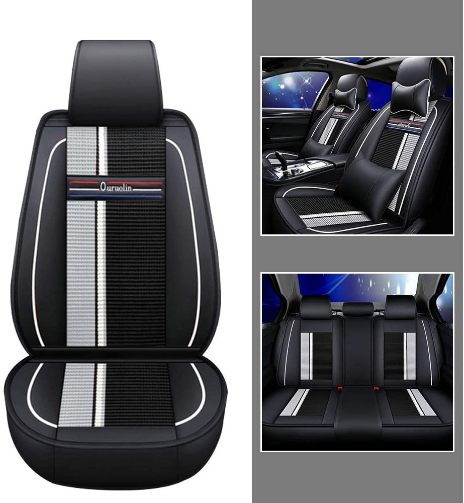 Luxury Leather Car Seat Covers Set for Infiniti Q50 Breathable and Anti-Slip All-Season Seat Protector with Headrest and Backrest Pillow Fit 5 Seats Black white