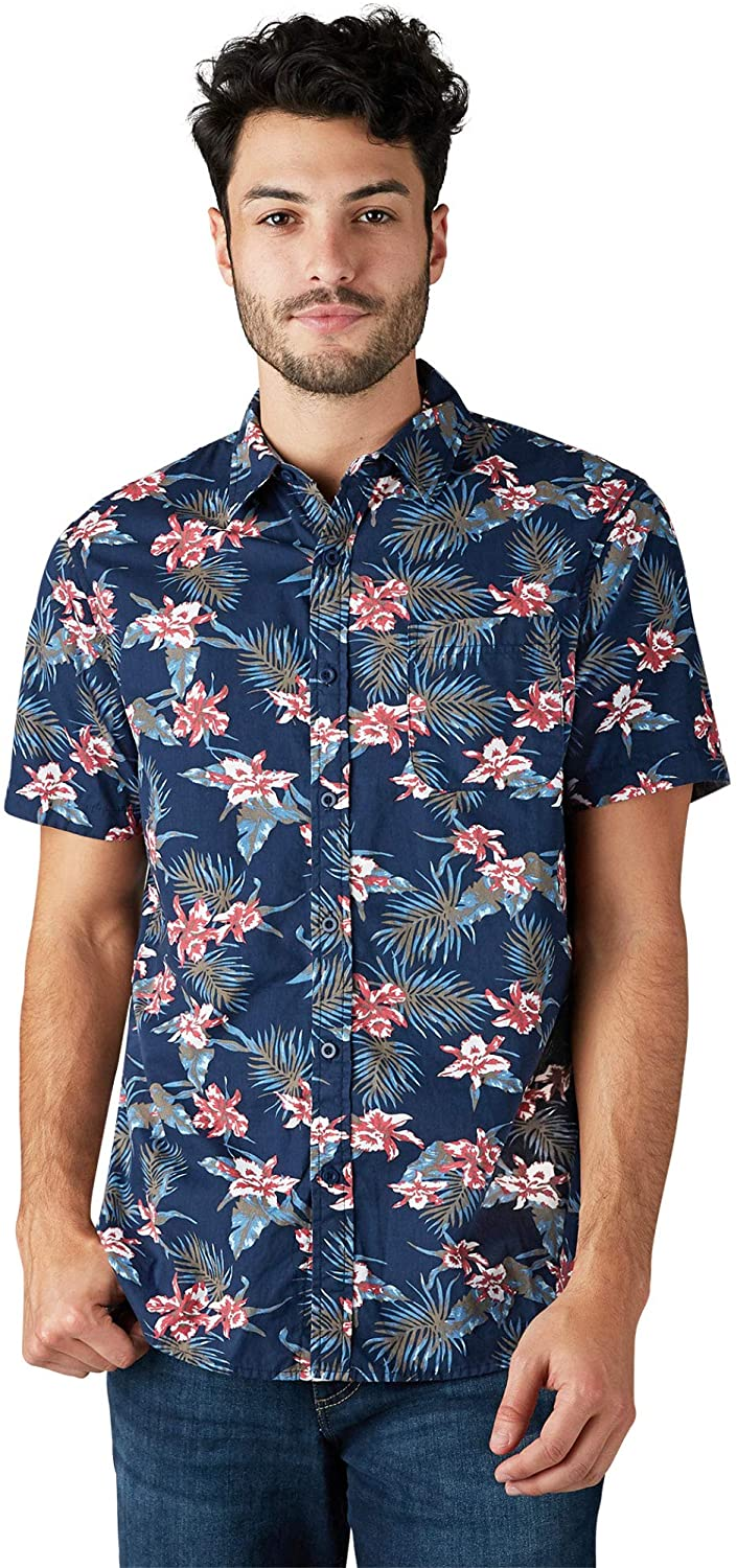 LEE Men's Regular, Big & Tall, Short Sleeve Button Down Printed Stretch Shirt