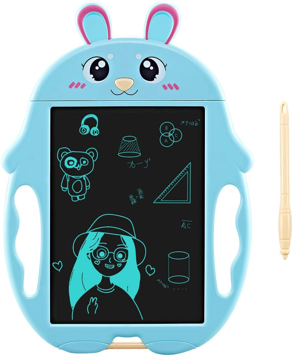 Oenbopo LCD Writing Tablet, Kids Writing Pad, Magic Graffiti Painting Doodling Board with Color Pen Educational Drawing Board Toys Gifts (Rabbit; Blue)
