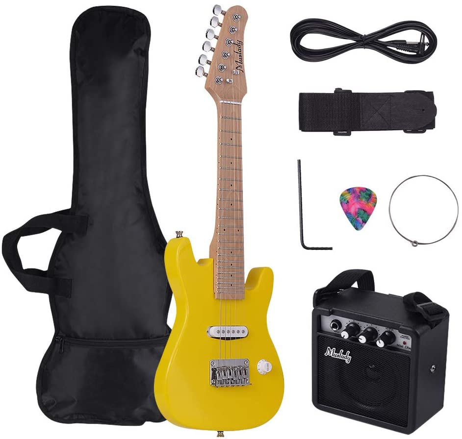 Kalaok 28 Inch Kids Children ST Electric Guitar Kit Maple Neck Paulownia Body with Mini Amplifier Guitar Bag Strap Pick String Audio Cable Right-Handed Style