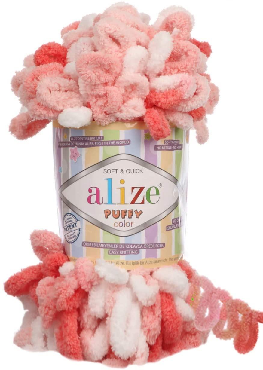 Alize Puffy Color Baby Blanket Yarn Lot of 4skn 400gr 39.3 yds 100% Micropolyester Soft Yarn Hand Knitting Yarn (5922)