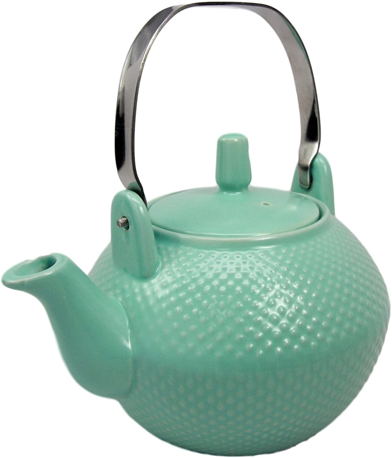 Ebros Gift Imperial Spotted Texture Teapot With Stainless Steel Handle 28oz (Aquamarine Blue)