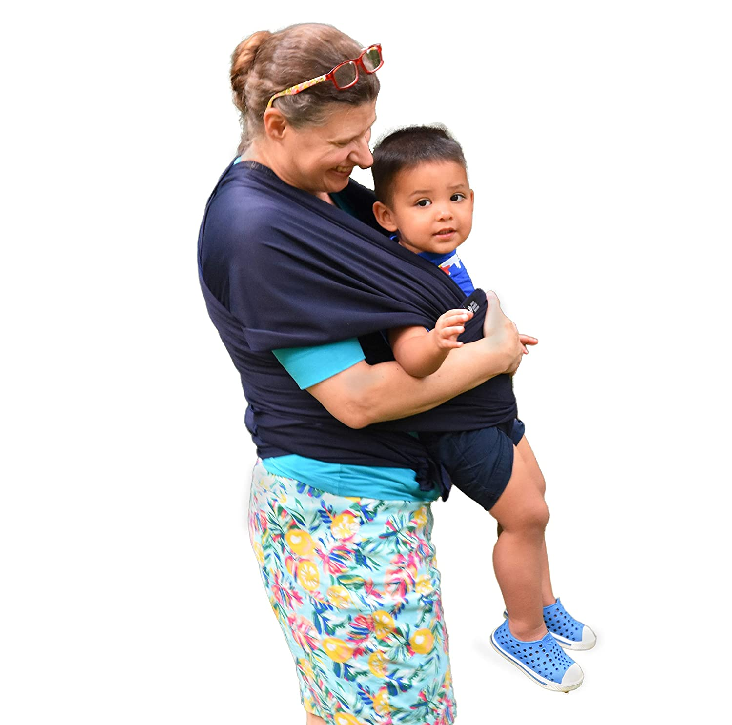 Baby Wrap Carrier: Soft, Stretchy, Breathable Cotton Baby Wrap, Baby Sling, Nursing Cover Up for use with Newborn-Toddler: Evenly distributes Weight for More Comfortable Carrying (Navy Blue)