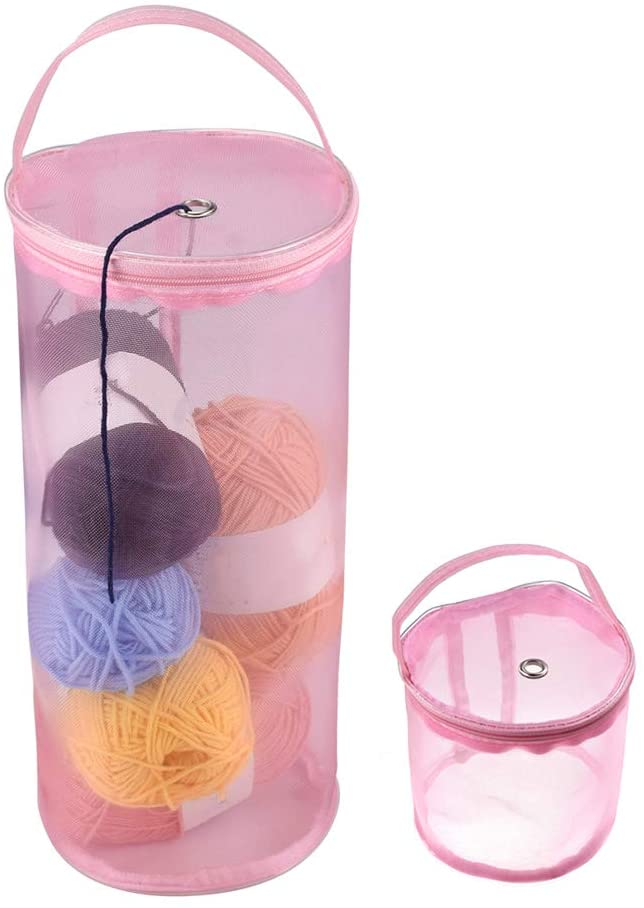 Katech 2 Pieces of Empty Yarn Storage Bags Different Sizes Round Mesh Yarn Cases Portable Knitting Bags Yarn Balls Organizer Baskets Crochet Thread Sewing Knitting Accessories Storage Tote Bags