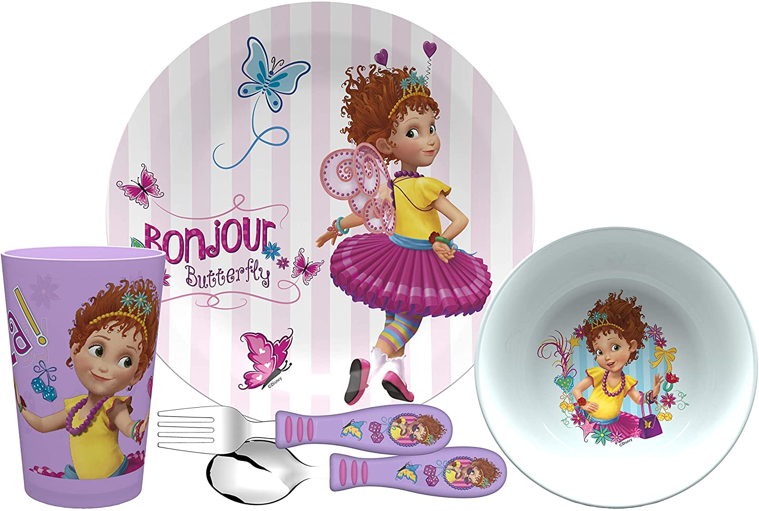 Zak Designs Fancy Nancy Kids Dinnerware Set Includes Plate, Bowl, Tumbler and Utensil Tableware, Made of Durable Material and Perfect for Kids (Nancy Clancy, 5 Piece Set, BPA-Free)