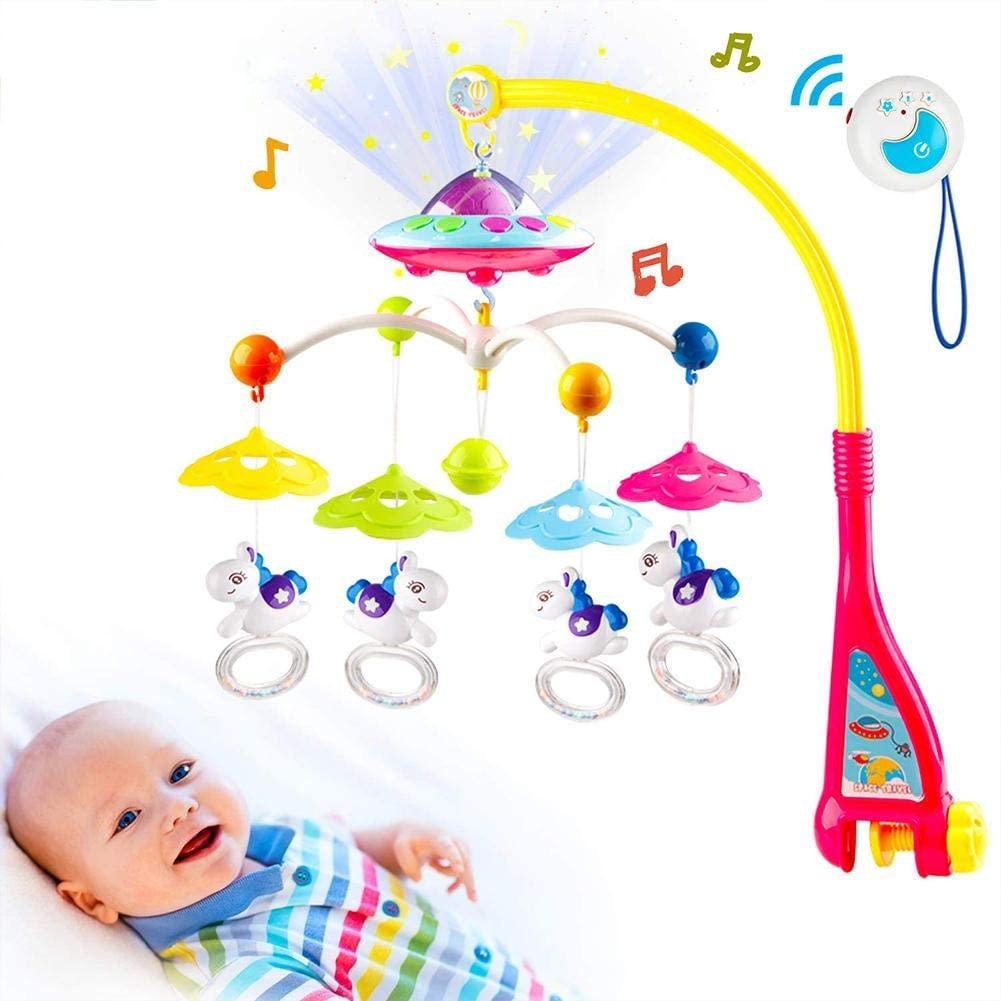 PROKTH Musical Baby Crib Mobile Toy,Musical Baby Crib Mobile with Lights and Music, Star Projector Function and Cartoon Rattles, Remote Control Musical Box with Melodies, Toy for Newborn Sleep