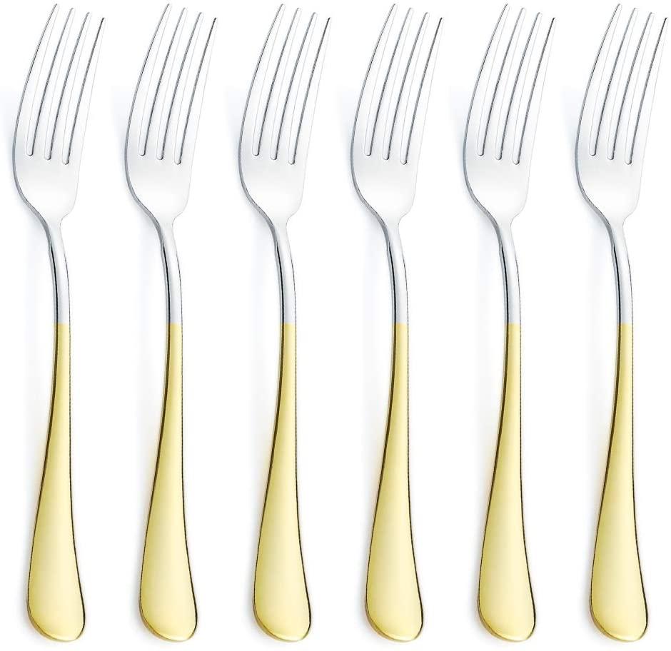 6 Piece Dinner Fork Set 24K Gold Plated Handle Stainless Steel Silverware Flatware Cutlery Forks Only Bulk Open Stock Dessert Salad Fork Serving for 6 Mirror Finish Dishwasher Safe 7.2 Inches